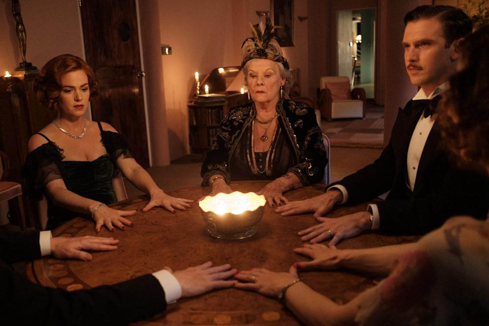 Isla Fisher, Dame Judi Dench and Dan Stevens in Blithe Spirit. (Sky Cinema)