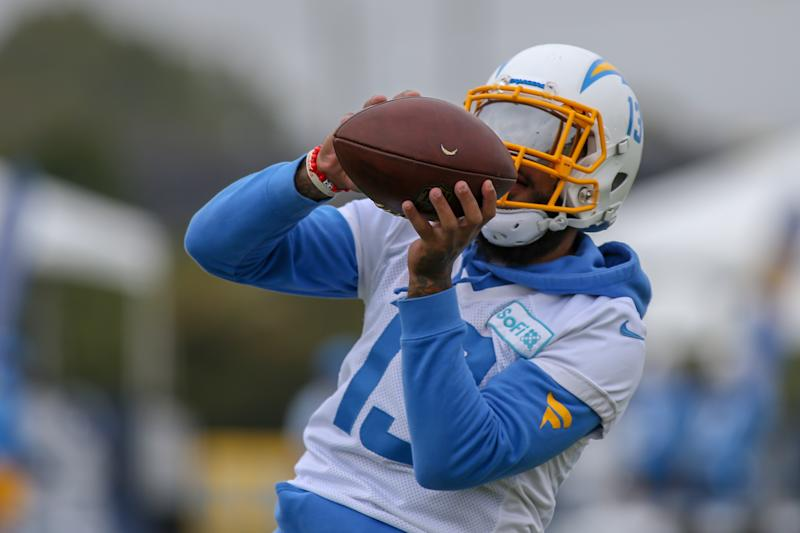 Keenan Allen makes a catch during training camp.