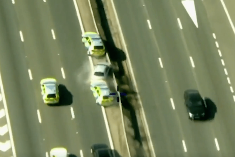 Ruddin is shunted into the central reservation of the M11, ending the chase: Met Police