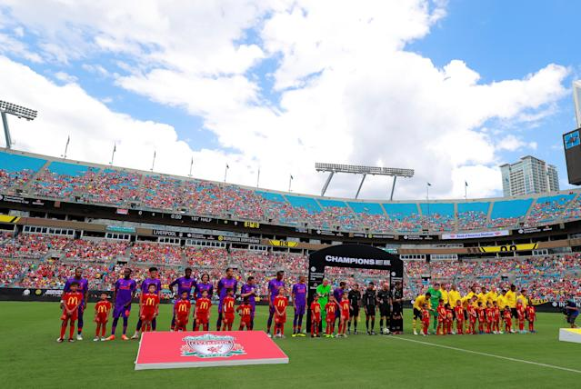 Soccer Football - International Champions Cup - Liverpool v Borussia Dortmund - Bank of America Stadium, Charlotte, USA - July 22, 2018 General view as players line up before the match REUTERS/Chris Keane