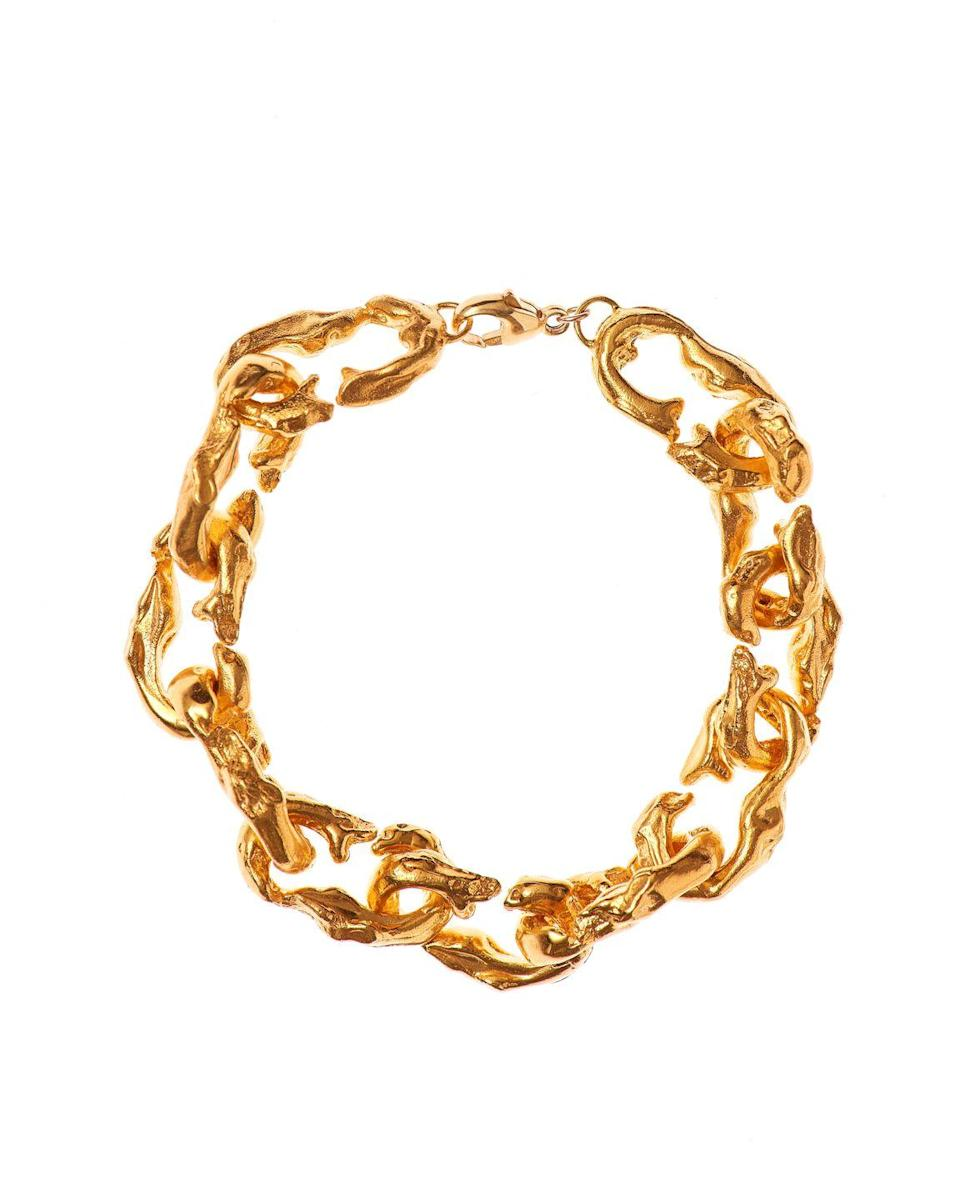 """<p><a class=""""link rapid-noclick-resp"""" href=""""https://shop.alighieri.co.uk/collections/bracelets/products/the-selva-oscura-bracelet"""" rel=""""nofollow noopener"""" target=""""_blank"""" data-ylk=""""slk:SHOP NOW"""">SHOP NOW</a></p><p>A rugged, baroque chain inspired by the weather-beaten trees and craggy rocks encountered by Dante Alighieri in his 14th Century poem, The Divine Comedy.</p><p>Gold plated chain bracelet, £350, <a href=""""https://alighieri.co.uk/"""" rel=""""nofollow noopener"""" target=""""_blank"""" data-ylk=""""slk:Alighieri"""" class=""""link rapid-noclick-resp"""">Alighieri</a></p>"""