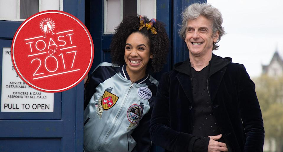 Pearl Mackie and Peter Capaldi in <em>Doctor Who</em>. (Photoshot/Everett Collection)