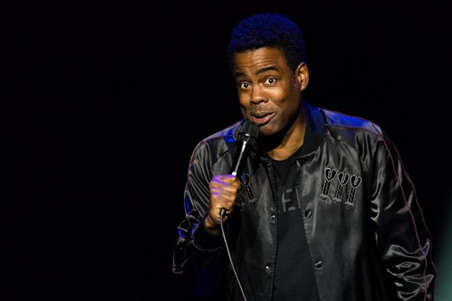 Chris Rock performs live on stage during <em>The Total Blackout Tour</em> in October 2017. (Photo by Nigel Waldron/Redferns)