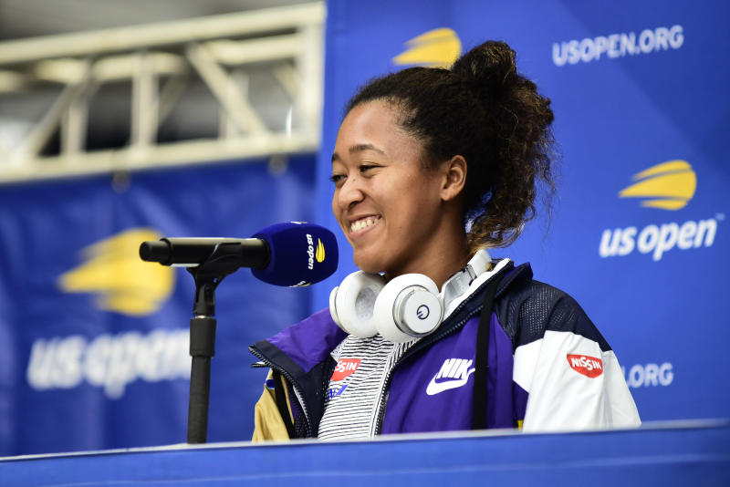NEW YORK, NEW YORK - AUGUST 23: Naomi Osaka of Japan speaks during media day prior to the the 2019 US Open at the USTA Billie Jean King National Tennis Center on August 23, 2019 in the Flushing neighborhood of the Queens borough of New York City. (Photo by Emilee Chinn/Getty Images)