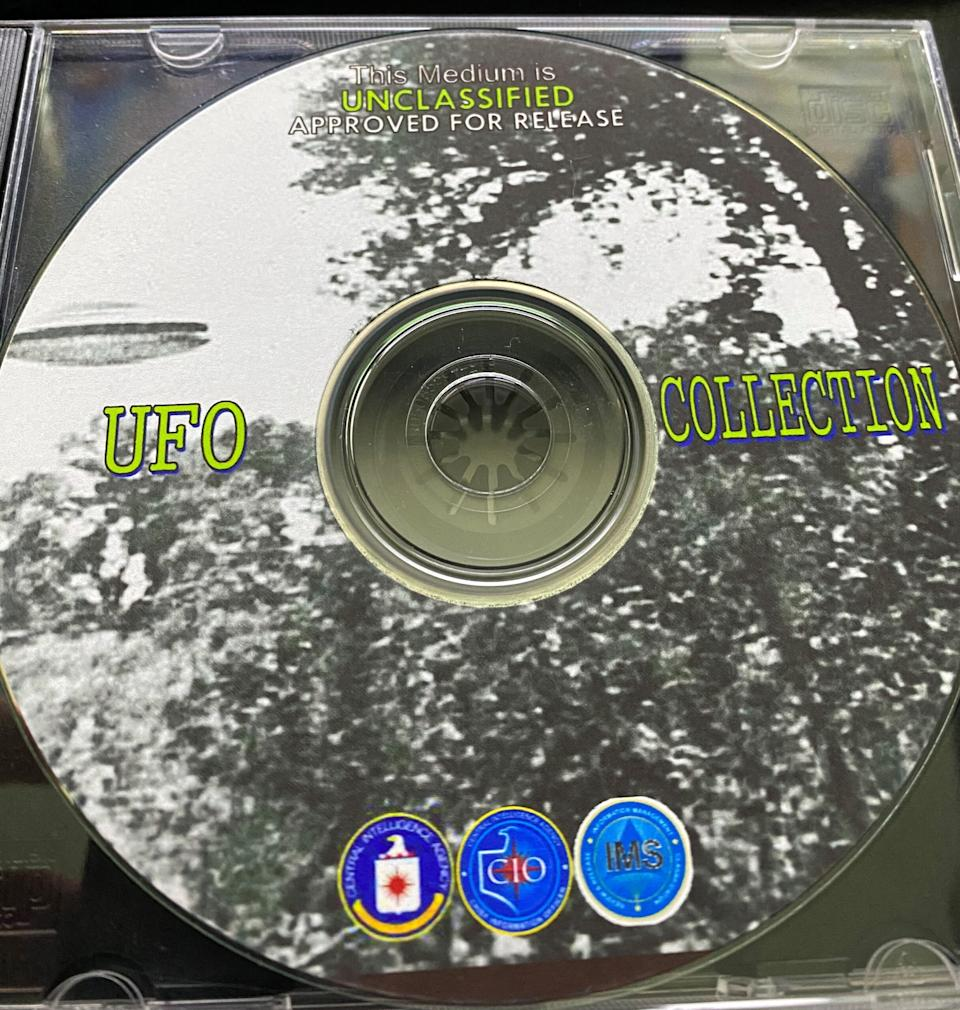 Repository of sensitive government intelligence, or bootleg X-Files DVD? This CD-ROM contains nearly 2,700 pages of declassified CIA documents, according to the Black Vault.