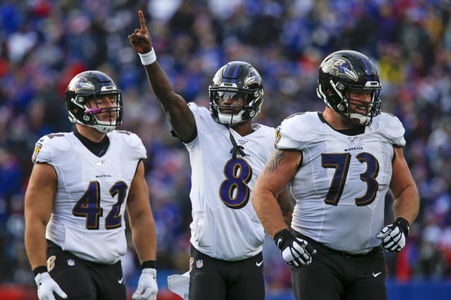Baltimore Ravens quarterback Lamar Jackson (8) celebrates a 61-yard touchdown play as he walks off the field with offensive guard Marshal Yanda (73) and fullback Patrick Ricard (42) during the second half of an NFL football game against the Buffalo Bills in Orchard Park, N.Y., Sunday, Dec. 8, 2019. (AP Photo/John Munson)