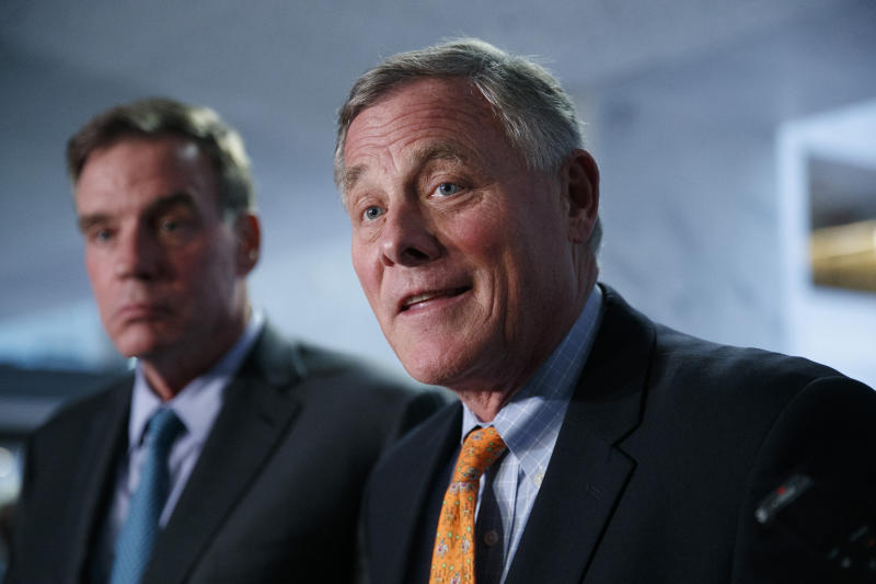 Sen. Richard Burr, R-N.C., right, chairman of the Senate Intelligence Committee, and Sen. Mark Warner, D-Va., committee vice chair, speak to the media after receiving closed briefings from Acting Director of National Intelligence Joseph Maguire and National intelligence inspector general Michael Atkinson, Thursday Sept. 26, 2019, on Capitol Hill in Washington. (AP Photo/Jacquelyn Martin)