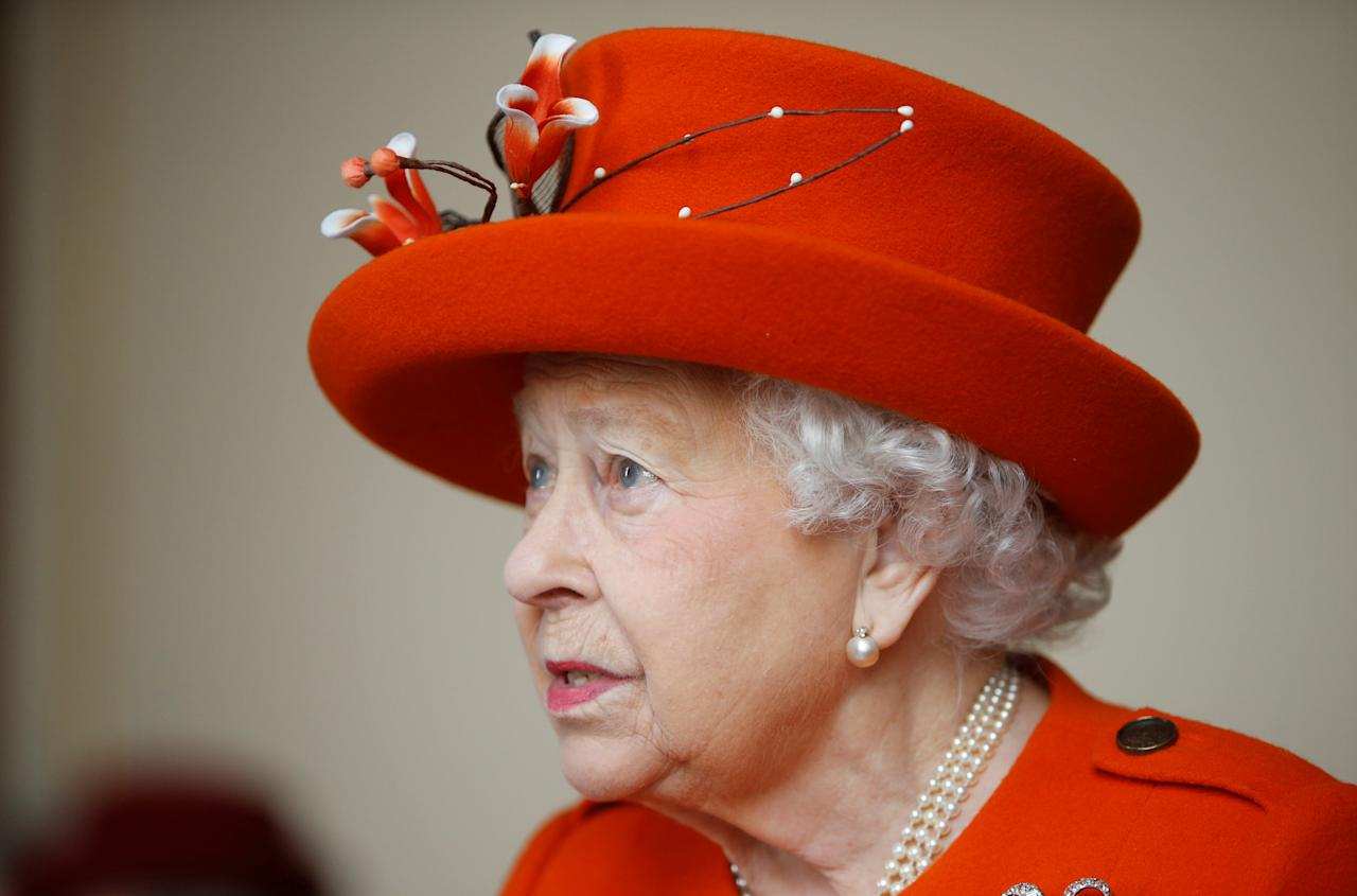 Britain's Queen Elizabeth visits the Royal Academy of Arts in London, March 20, 2018. Alastair Grant/ Poo via Reuters