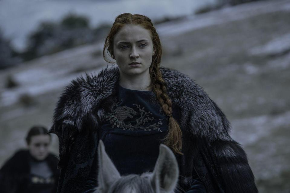 <p>When it's time for the Battle of the Bastards, Sansa rides out to watch the war looking every bit the part of a Northern general. This is the first time we see Sansa in the thick furs we associate with the power players in the North because she's finally ready to be one. </p>