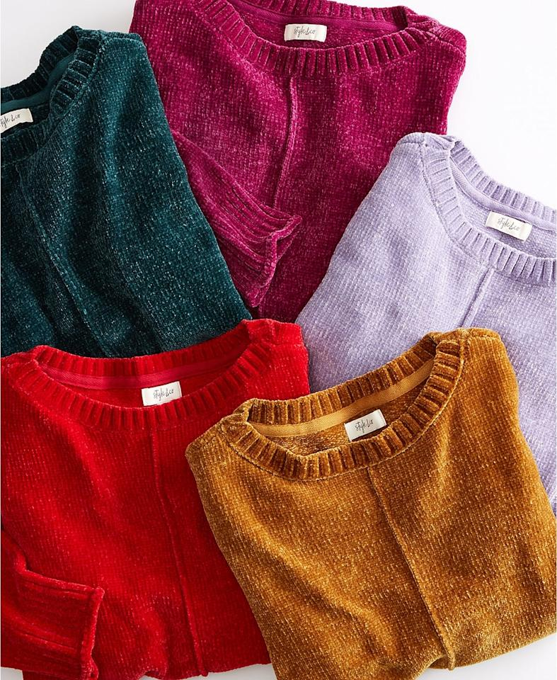 """<p>This <a href=""""https://www.popsugar.com/buy?url=https%3A%2F%2Fwww.macys.com%2Fshop%2Fproduct%2Fstyle-co-chenille-sweater-created-for-macys%3FID%3D8580022%26CategoryID%3D188851%23fn%3DPRICE%253D0.0%257C49.99%2526sp%253D8%2526spc%253D19172%2526ruleId%253D105%257CBOOST%2520ATTRIBUTE%257CBOOST%2520SAVED%2520SET%2526searchPass%253DmatchNone%2526slotId%253D20&p_name=Style%20%26amp%3B%20Co%20Chenille%20Sweater&retailer=macys.com&price=35&evar1=fab%3Aus&evar9=46642602&evar98=https%3A%2F%2Fwww.popsugar.com%2Fphoto-gallery%2F46642602%2Fimage%2F46644296%2FStyle-Co-Chenille-Sweater&list1=shopping%2Cfall%20fashion%2Cmacys%2C50%20under%20%2450%2Caffordable%20shopping&prop13=api&pdata=1"""" rel=""""nofollow"""" data-shoppable-link=""""1"""" target=""""_blank"""" class=""""ga-track"""" data-ga-category=""""Related"""" data-ga-label=""""https://www.macys.com/shop/product/style-co-chenille-sweater-created-for-macys?ID=8580022&amp;CategoryID=188851#fn=PRICE%3D0.0