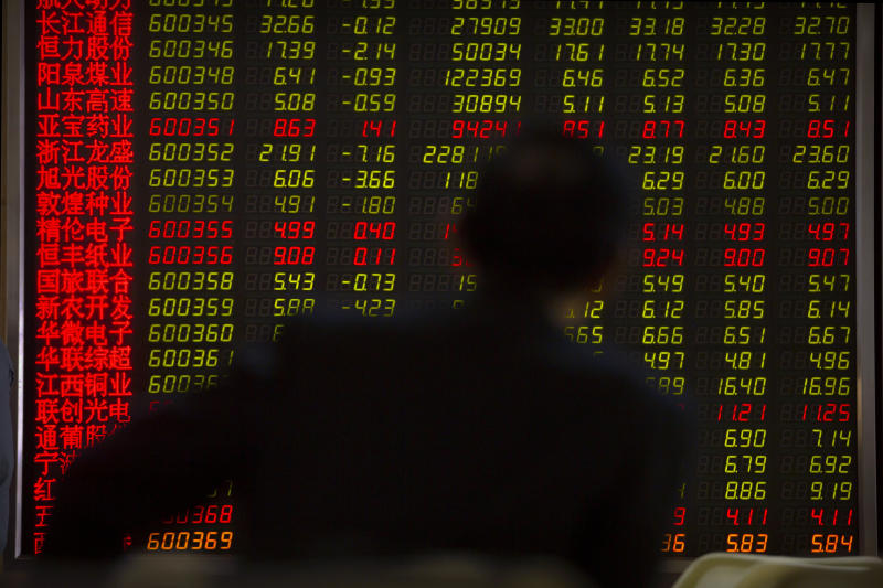 A Chinese investor monitors stock prices at a brokerage house in Beijing, Friday, April 19, 2019. Asian stock indexes rose moderately in quiet holiday trading on Good Friday as some markets were closed. (AP Photo/Mark Schiefelbein)
