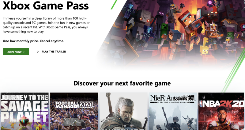 Microsoft's Xbox Game Pass gives you unlimited access to more than 100 games for a flat monthly fee. (Image: Microsoft)
