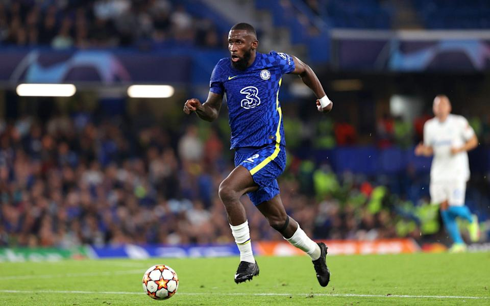 Antonio Rudiger of Chelsea in action during the UEFA Champions League group H match between Chelsea FC and Zenit St. Petersburg at Stamford Bridge on September 14, 2021 in London, United Kingdom. - GETTY IMAGES