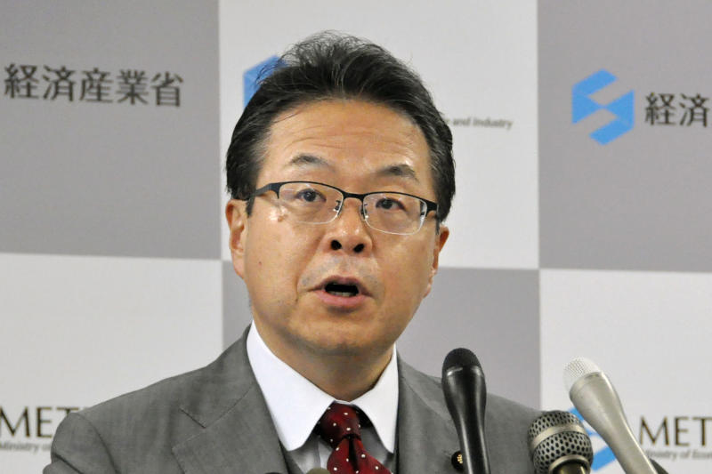 "In this Sept. 3, 2019, photo, Japan's Minister of Economy, Trade and Industry Hiroshige Seko speaks during a press conference at his ministry after a cabinet meeting in Tokyo. Seko told reporters Wednesday, Sept. 11, 2019, he thought hardly any World Trade Organization member countries were sympathetic to South Korea's position. ""Regardless, it is clear that our action is consistent with the WTO,"" he said. South Korea said it will initiate a complaint to the WTO over Japan's tightened export controls on key materials South Korean companies use to make computer chips and displays. (Mari Tokumitsu/Kyodo News via AP)"