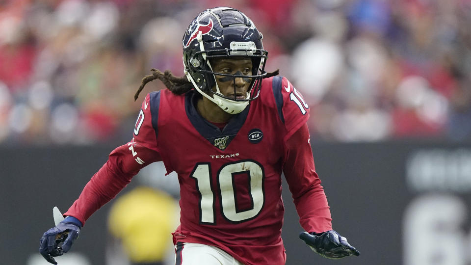 Good in red: The Houston Texans traded receiver DeAndre Hopkins to the Arizona Cardinals on Monday. (AP/David J. Phillip)