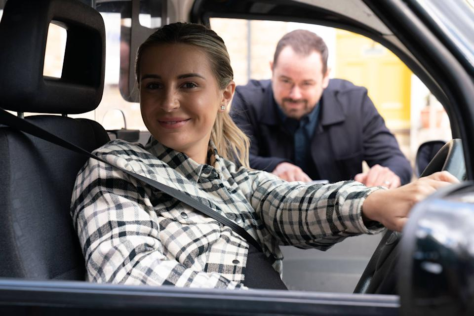 Dani Dyer, and her father Danny, in her upcoming EastEnders cameo (PA/BBC)