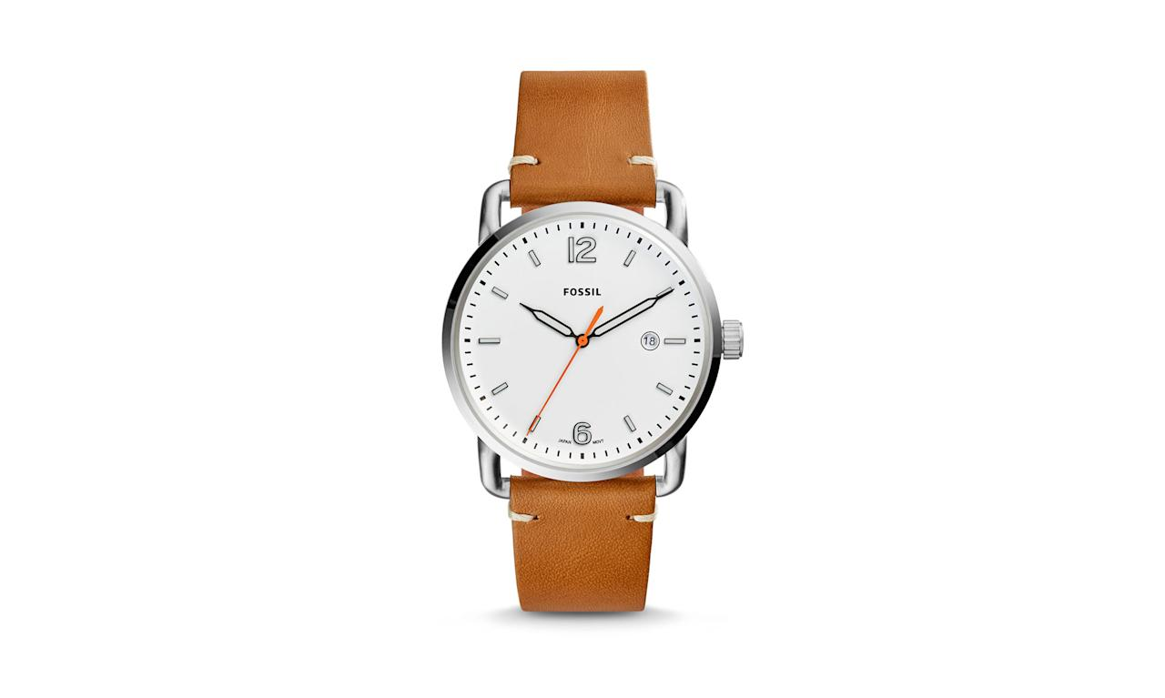 "<p>The Commuter Three-Hand Date light brown leather watch, $95, <a rel=""nofollow"" href=""https://www.fossil.com/us/en/products/the-commuter-three-hand-date-light-brown-leather-watch-sku-fs5395p.html"">fossil.com</a> </p>"