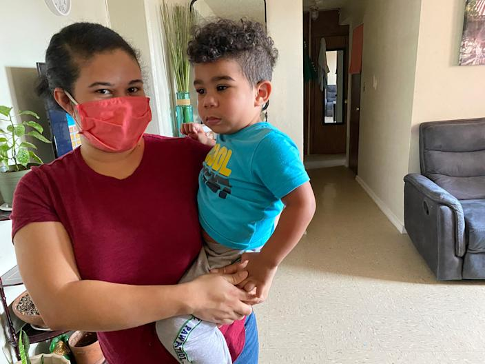 Marleny Hernandez with her 2-year-old son, Jayce, in her East Harlem apartment.