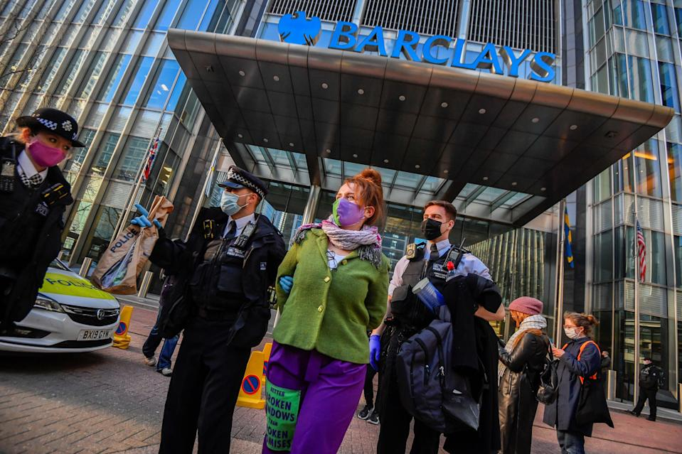 <p>Extinction Rebellion protesters have targeted Barclays bank for funding  fossil fuel companies</p> (Reuters)