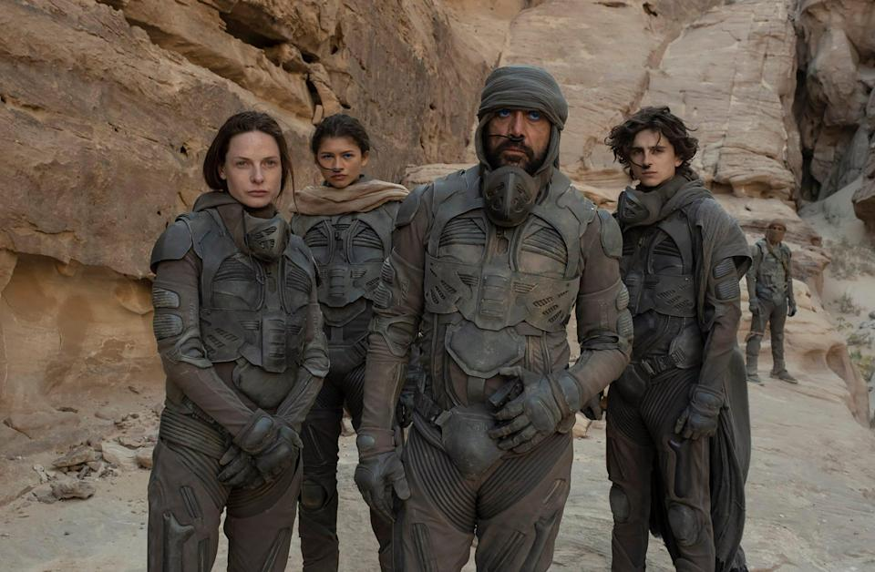 """Rebecca Ferguson (from left) stars as Lady Jessica, Zendaya is Chani, Javier Bardem plays Stilgar and Timothee Chalamet is Paul Atreides in the sci-fi epic """"Dune."""""""