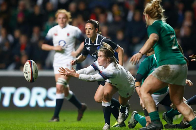 Leanne Riley of England makes a pass: Getty Images