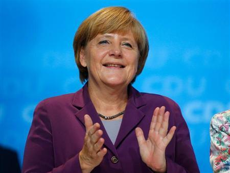 German Chancellor and CDU leader Merkel addresses an election campaign rally in Frankfurt