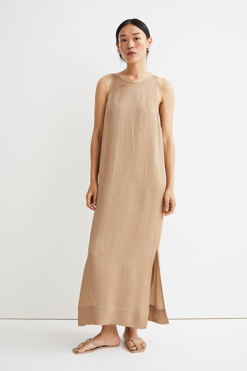 <p>The fabric of this <span>H&amp;M Crêped Silk-Blend Dress</span> ($119) makes it look expensive and chic. The ensemble has an understated elegance that makes it a winner in our book.</p>