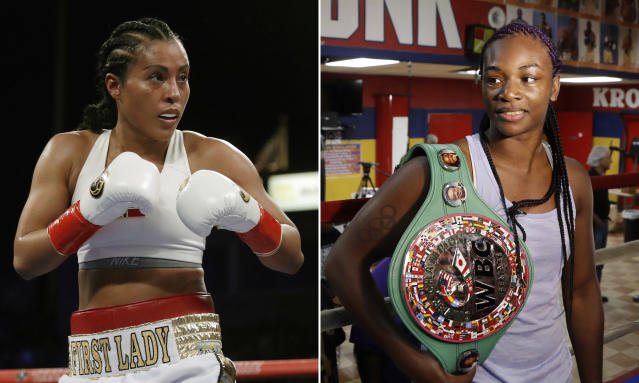 FILE - At left, in a May 5, 2018, file photo, Cecilia Braekhus, of Norway, is shown in action during a fight against Kali Reis, in Carson, Calif. At right, in an Aug. 1, 2017, file photo, Claressa Shields poses in the Kronk gym ring during a media availability, in Detroit. Cecilia Braekhus was in the first womens boxing match on HBO, and the dominant Norwegian champion will be in the main event of HBOs final boxing show Saturday night when she defends her welterweight titles against Aleksandra Magdziak-Lopes. On the undercard, two-time Olympic gold medalist Claressa Shields defends her middleweight belts against Femke Hermans. (AP Photo/File)