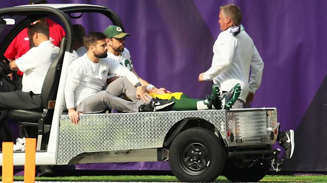 Aaron Rodgers underwent surgery on Thursday to repair the collarbone he broke last Sunday. (Getty)