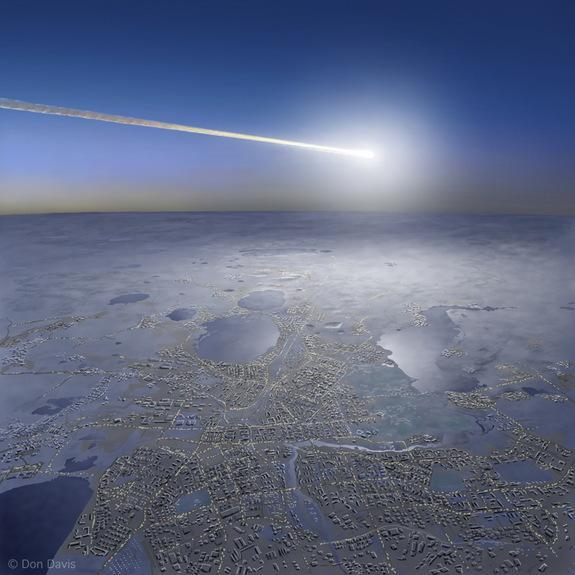 """Artist's view of last year's fireball explosion over Chelyabinsk, Russia – termed a """"superbolide"""" event."""