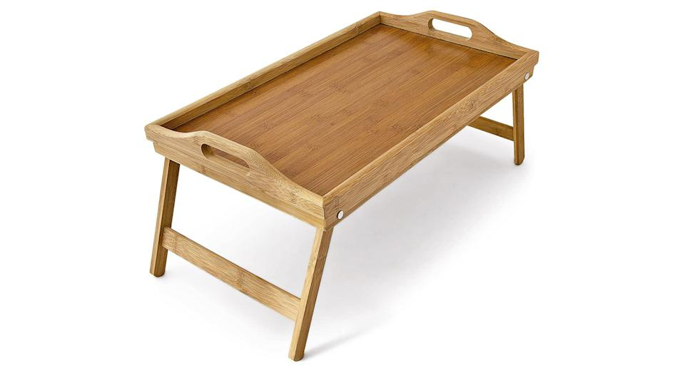 Relaxdays Bamboo Wooden Breakfast in Bed Tray