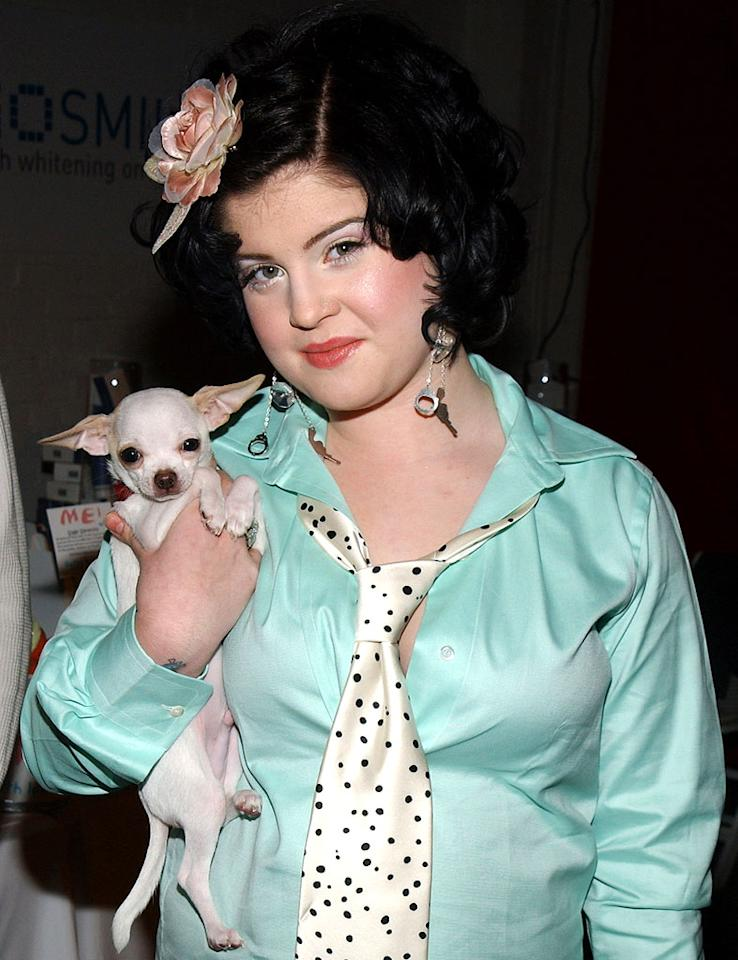 "Kelly Osbourne and her dog Boris. Jean-Paul Aussenard/<a href=""http://www.wireimage.com"" target=""new"">WireImage.com</a> - January 23, 2004"