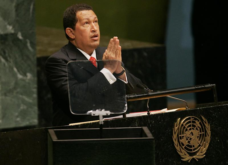 Venezuela president Hugo Chavez at the United Nations general assembly in 2006: REUTERS