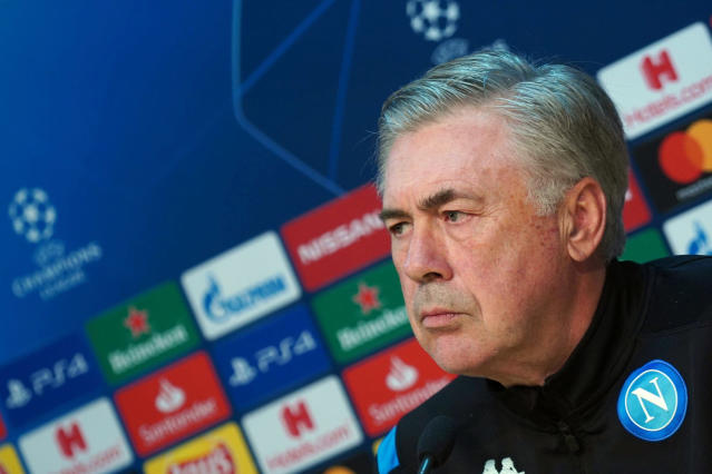FILE - In this Monday, Dec. 9, 2019 filer, Napoli coach Carlo Ancelotti attends a press conference ahead of Tuesday's Champions League, group E soccer match against KRC Genk, in Castel Volturno, near Naples, Italy. Napoli has fired coach Carlo Ancelotti despite qualifying for the Champions League knockout stages. Napoli announced the decision shortly after beating Genk 4-0 to end a nine-match winless run in all competitions and reach the last 16 of the Champions League. Former AC Milan coach Gennaro Gattuso has been touted as his replacement. Napoli is already 17 points behind Serie A leader Inter Milan. (Cesare Abbate/ANSA via AP, File )