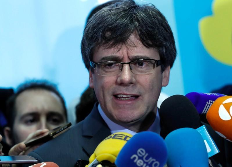 Former Catalan president Puigdemont addresses the media after a meeting with speaker of Catalan Parliament Torrent in Brussels