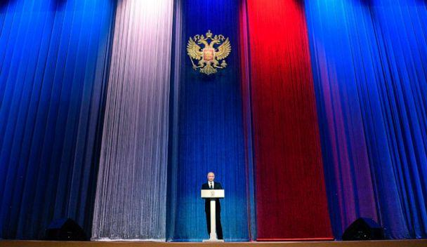 PHOTO: Russian President Vladimir Putin delivers his speech marking the Defenders of the Fatherland Day at the State Kremlin Palace in Moscow, Feb. 23, 2020. (Alexei Druzhinin/Kremlin Pool Photo via AP)