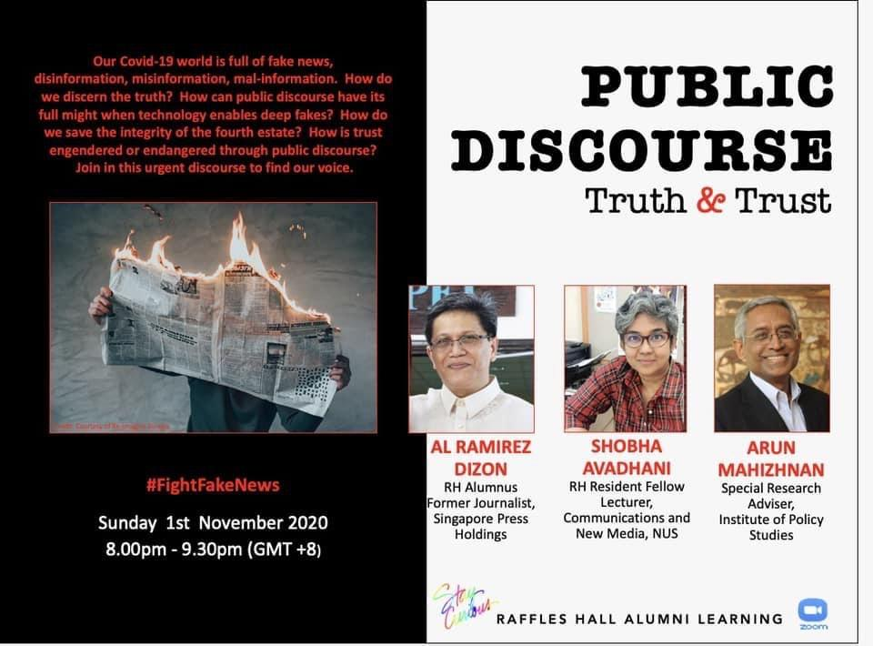 Public Discourse Truth & Trust webinar. (PHOTO: Raffles Hall Association Facebook group)