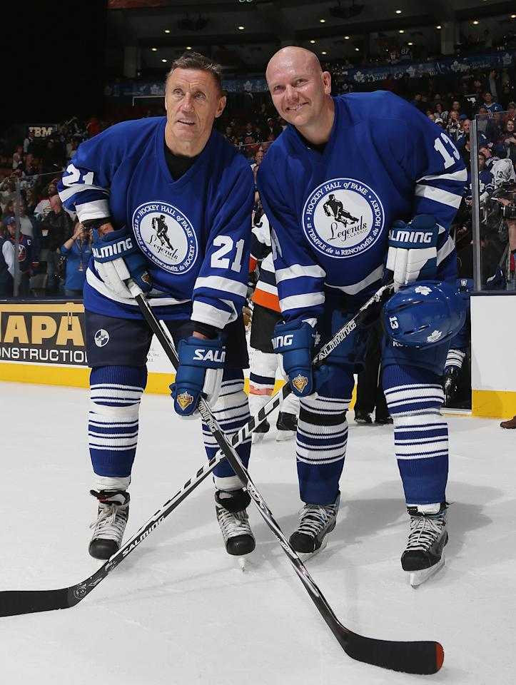 TORONTO, ON - NOVEMBER 11: (L-R) Borje Salming and Mats Sundin pose for photos following the Hall of Fame Legends Game at the Air Canada Centre on November 11, 2012 in Toronto, Canada. Sundin will be the second Swedish player inducted into the Hall on November 12, with Salming being the first. (Photo by Bruce Bennett/Getty Images)