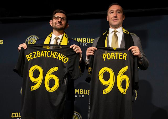 With the club's future in Columbus now secure, team president Tim Bezbatchenko (R) and head coach Caleb Porter arrived ready to steer the Crew toward a brighter future. (Greg Bartram/USA Today)