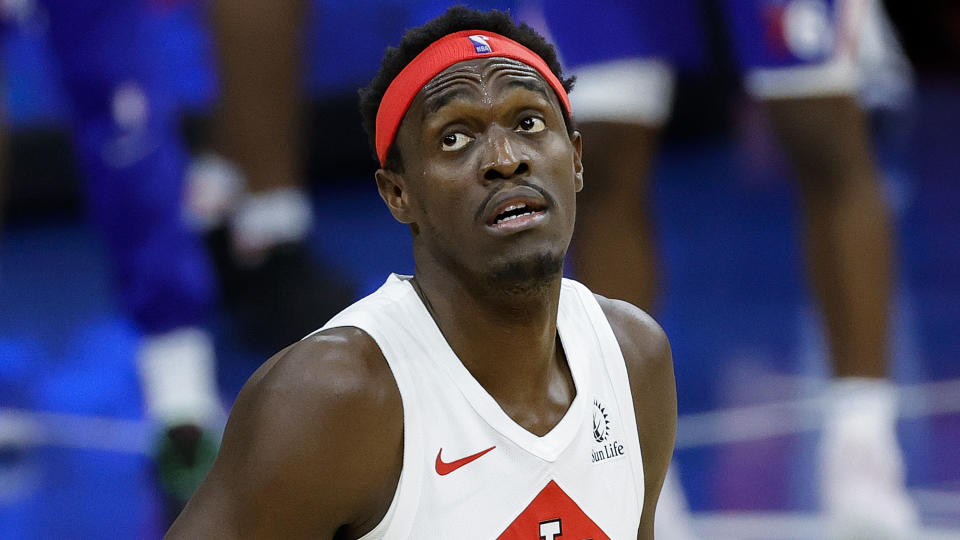 PHILADELPHIA, PENNSYLVANIA - DECEMBER 29: Pascal Siakam #43 of the Toronto Raptors looks on during the fourth quarter against the Philadelphia 76ers at Wells Fargo Center on December 29, 2020 in Philadelphia, Pennsylvania. NOTE TO USER: User expressly acknowledges and agrees that, by downloading and or using this photograph, User is consenting to the terms and conditions of the Getty Images License Agreement. (Photo by Tim Nwachukwu/Getty Images)