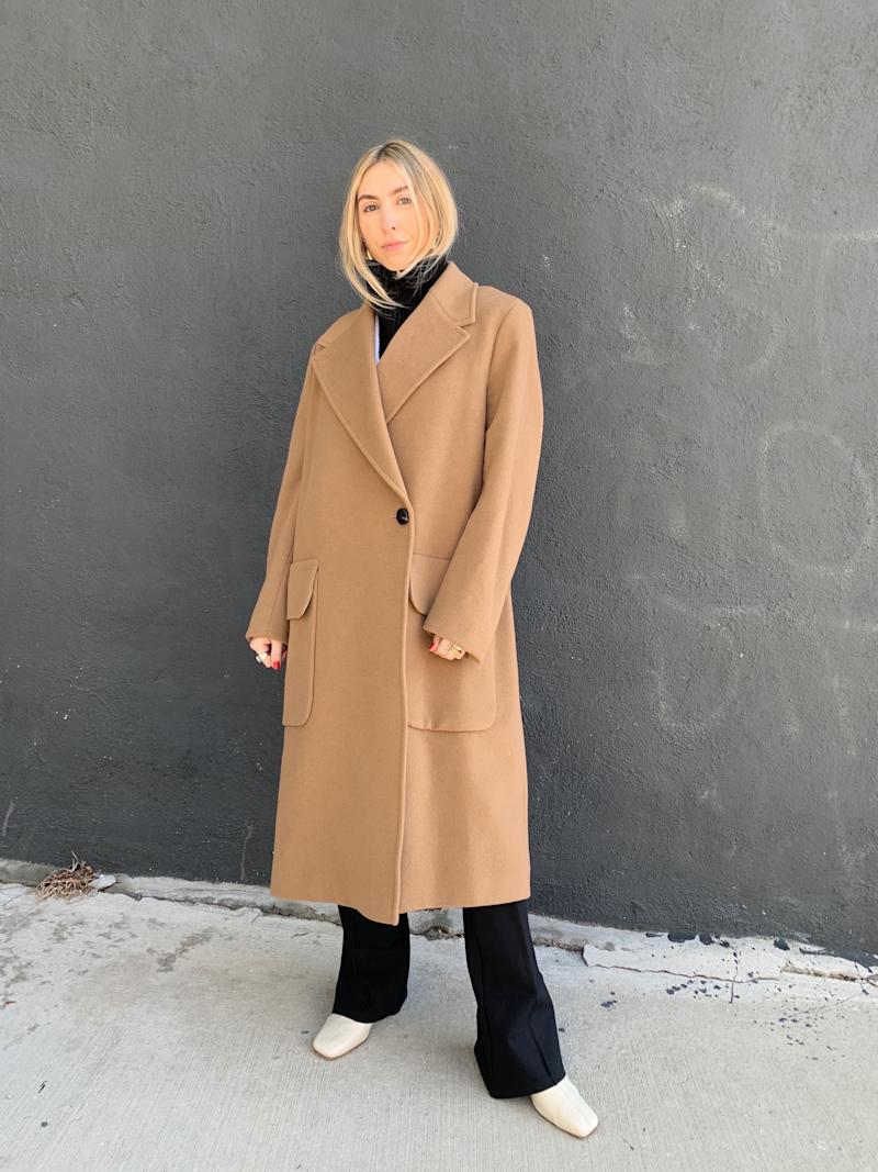 Baum Und Pferdgarten wool coat, & Other Stories dickey, stories.com, Mango trousers, mango.com, By Far boots.