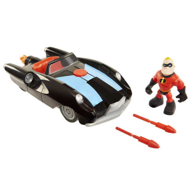 <p>Eltastigirl has her Elasticycle, and Mr. Incredible has this dart-firing ride aimed at the 4-year-old racing crowd. (Photo: Jakks) </p>
