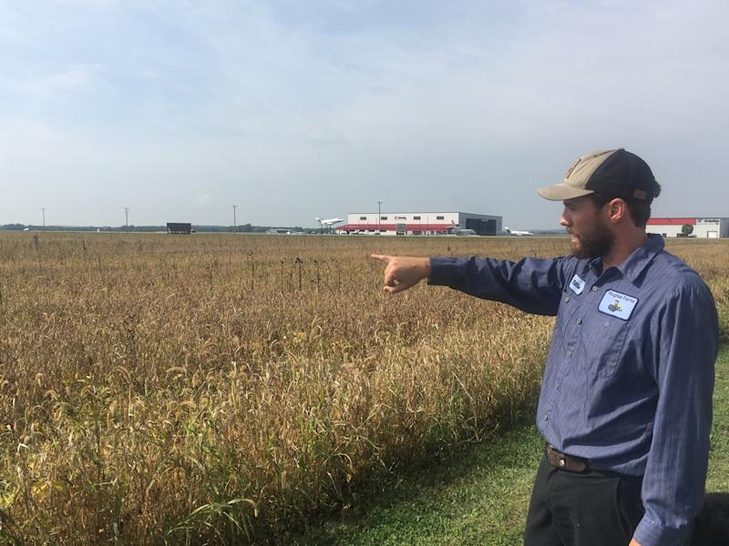Will Hughes looks over 400 acres of organic soybeans at his family's farm in Janesville, Wisconsin. The farm has lost about $500,000 in income because of President Donald Trump's trade war with China. (Photo: S.V. Date/HuffPost)