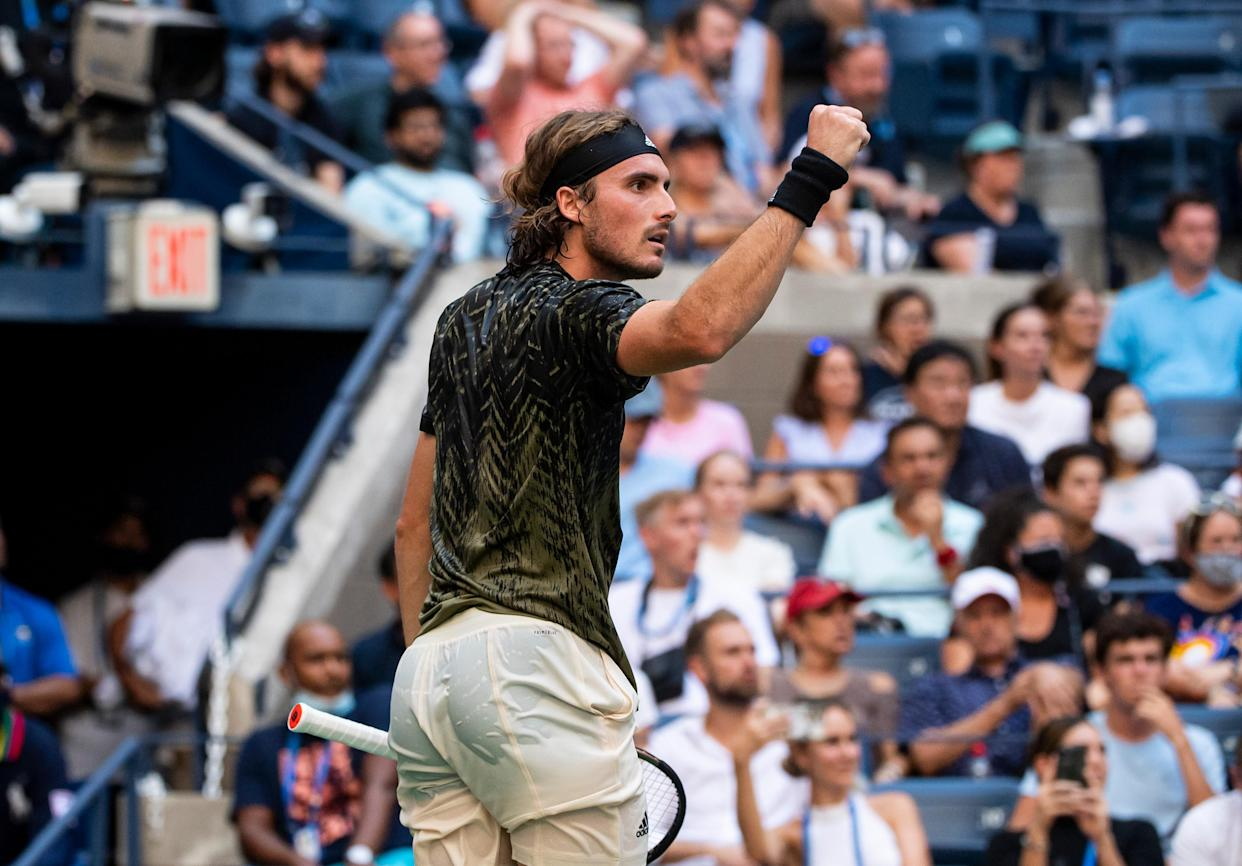 NEW YORK, NEW YORK - AUGUST 30: Stefanos Tsitsipas of Greece celebrates against Andy Murray of Great Britain in the first round of the men's singles at the US Open 2021 at the USTA Billie Jean King National Tennis Center on August 30, 2021 in New York City. (Photo by TPN/Getty Images)