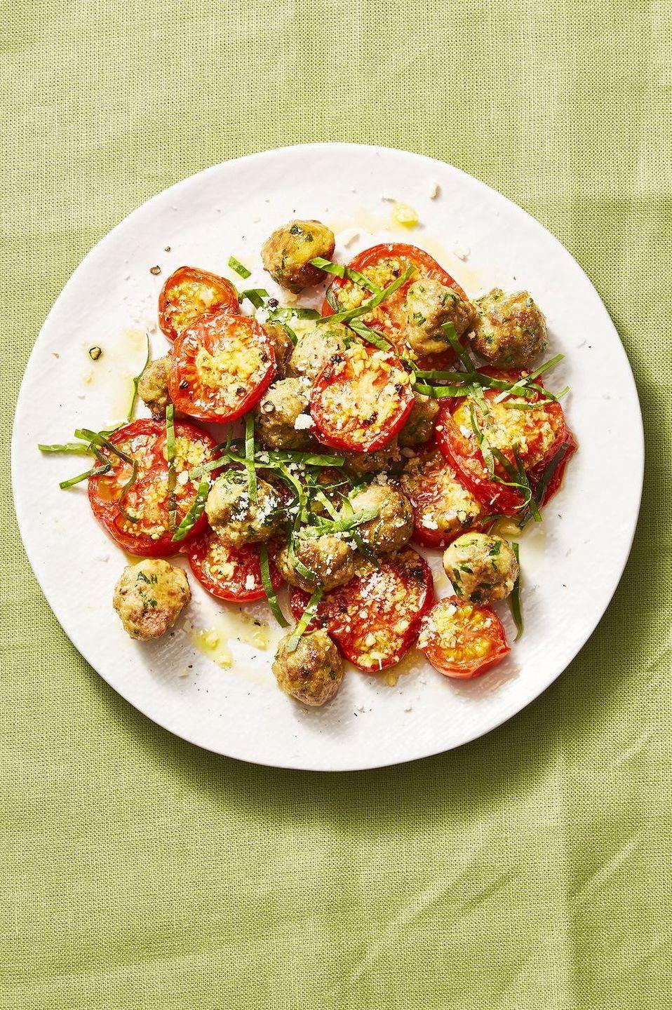 "<p>This easy dinner is made with ingredients you have in your pantry already. Add pasta for a fun and fresh take on spaghetti and meatballs.</p><p><em><a href=""https://www.goodhousekeeping.com/food-recipes/a28648640/mini-meatballs-garlic-tomatoes-recipe/"" rel=""nofollow noopener"" target=""_blank"" data-ylk=""slk:Get the recipe for Mini Meatballs With Garlicky Tomatoes »"" class=""link rapid-noclick-resp"">Get the recipe for Mini Meatballs With Garlicky Tomatoes »</a></em></p><p><strong>RELATED</strong><strong>:</strong> <a href=""https://www.goodhousekeeping.com/food-recipes/easy/g4215/meatball-recipes/"" rel=""nofollow noopener"" target=""_blank"" data-ylk=""slk:51 Delicious Ways to Have Meatballs for Dinner"" class=""link rapid-noclick-resp"">51 Delicious Ways to Have Meatballs for Dinner</a><br></p>"