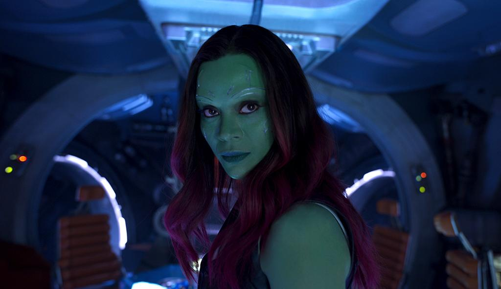 <p>The green-skinned mercenary Gamora, the last of the race of Zen-Whoberis, renounced her adopted father, Thanos, to join Quill and the Guardians. (Photo: Marvel) </p>