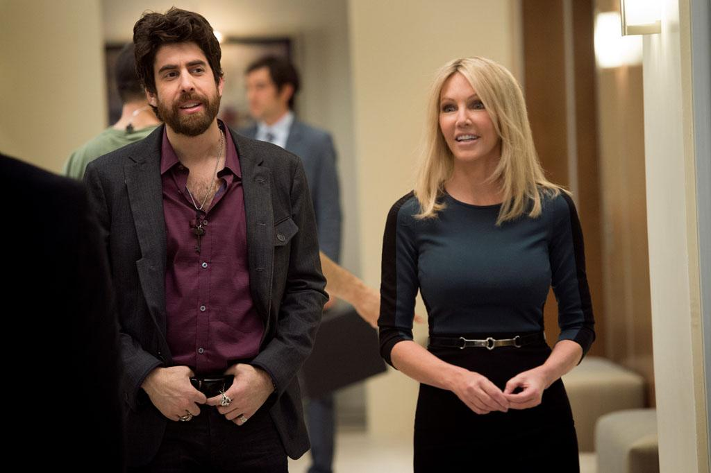 "Adam Goldberg and Heather Locklear in the ""Franklin & Bash"" Season 3 Premiere, ""Coffee and Cream."""