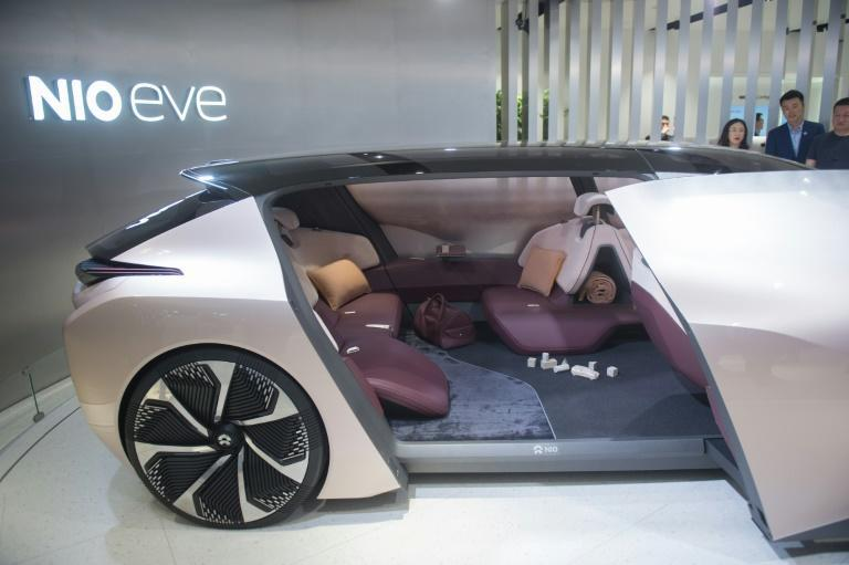The Nio Eve concept car is displayed during the Beijing Auto Show