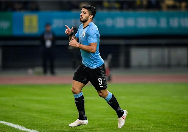 Barcelona forward Luis Suarez was the star as Uruguay cruised past the Czech Republic to reach the China Cup final (AFP Photo/-)