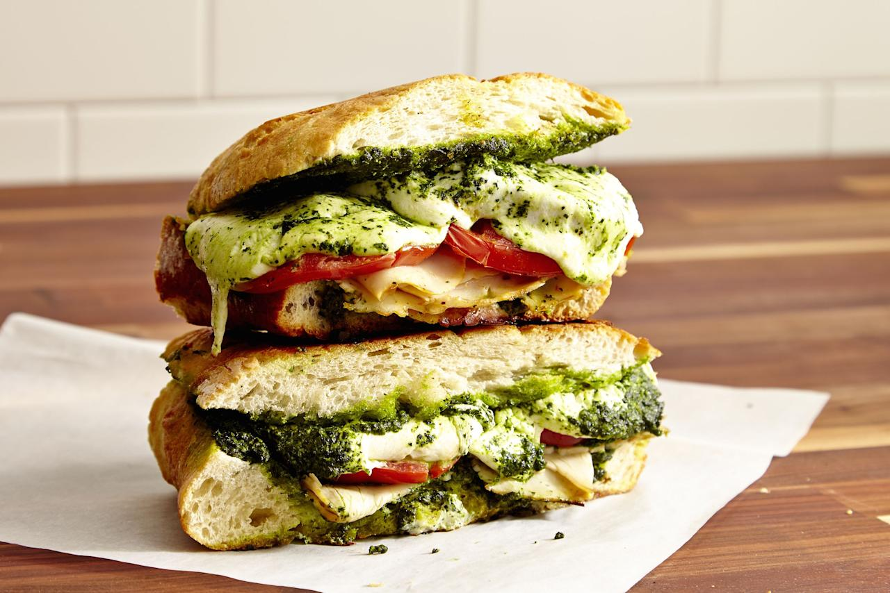 """<p>Paninis were to 2014 what trendy grain bowls are to 2018, but that doesn't you can't still enjoy a nice grill-marked sandwich every now and then. Break out the <a rel=""""nofollow"""" href=""""https://www.amazon.com/Chefman-Panini-Press-Non-Stick-Stainless/dp/B077YR9FFG"""">panini press</a> and make one of these melty sammies. Need more grilled sandwich goodness? Try our <a rel=""""nofollow"""" href=""""https://www.delish.com/cooking/recipe-ideas/g2815/best-grilled-cheese-recipes/"""">game-changing grilled cheeses</a>.</p>"""
